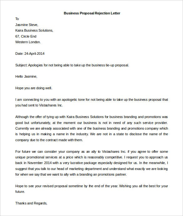 business proposal rejection letter template free word format