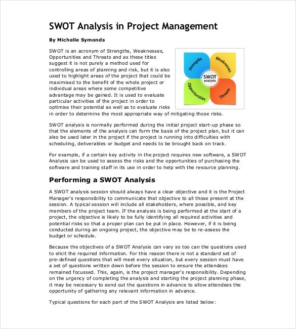 swot analysis in project management pdf