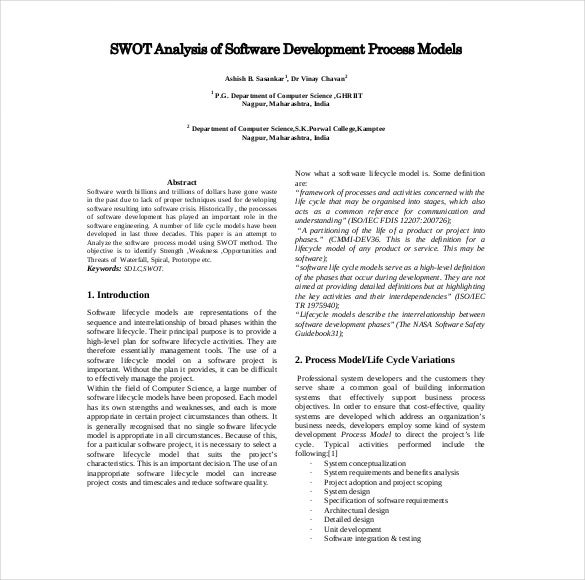 Project Management Swot Analysis   Free Word Excel Pdf