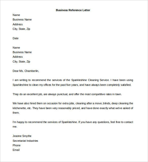 editable business reference letter template download