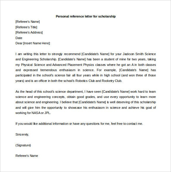 personal reference letter for scholarship free download