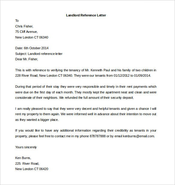Free reference letter templates 32 free word pdf documents download landlord reference letter template free word format expocarfo Images