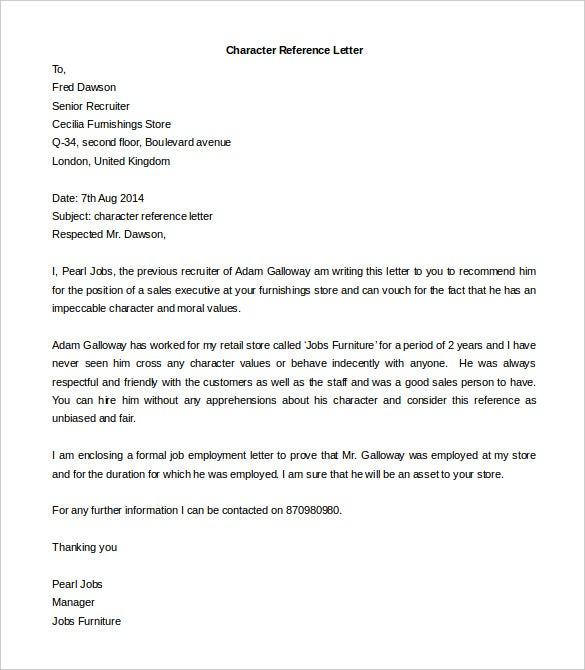 Free Reference Letter Template 25 Free Word PDF Documents – Format for Character Reference Letter