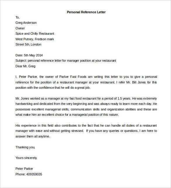 Editable Personal Reference Letter Template MS Word  Personal Letter Of Reference Template