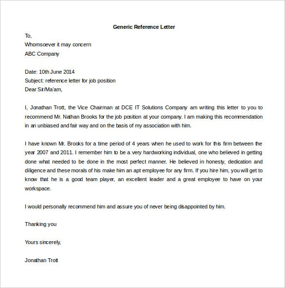 Bon Free Printable Generic Reference Letter Template Download
