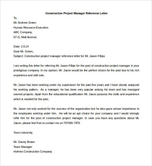 free construction project manager reference letter template download