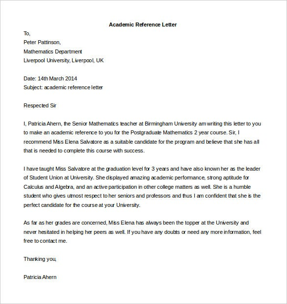 free academic reference letter template download
