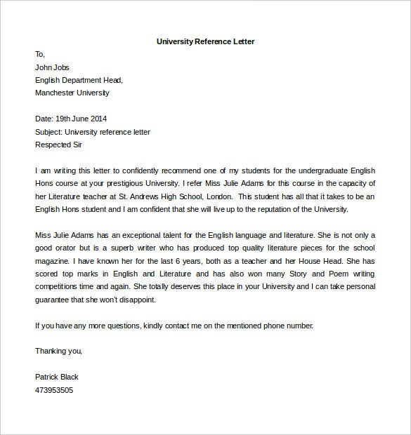 university reference letter template free editable