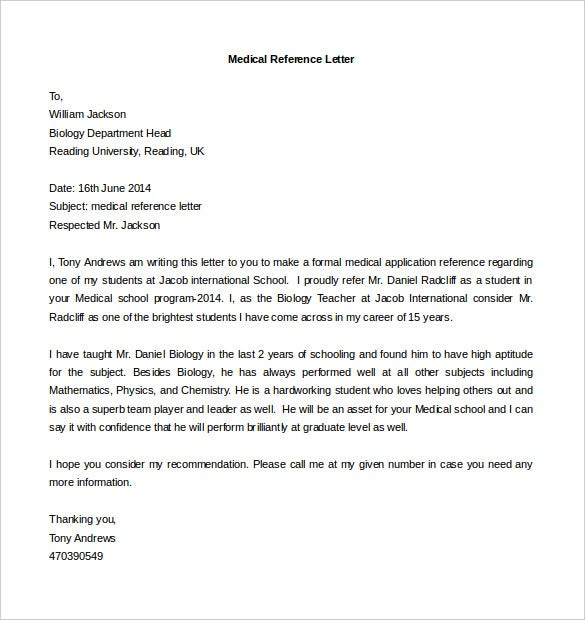 medical reference letter template free download