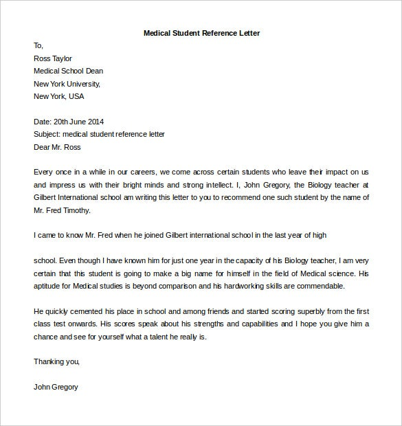 Free Reference Letter Template 25 Free Word PDF Documents – Template Recommendation Letter for Student