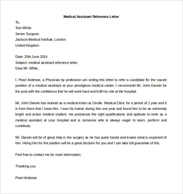 editable medical assistant reference letter template download