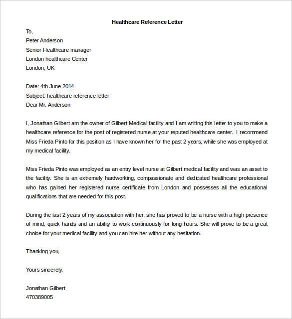 Free Reference Letter Template   Free Word Pdf Documents