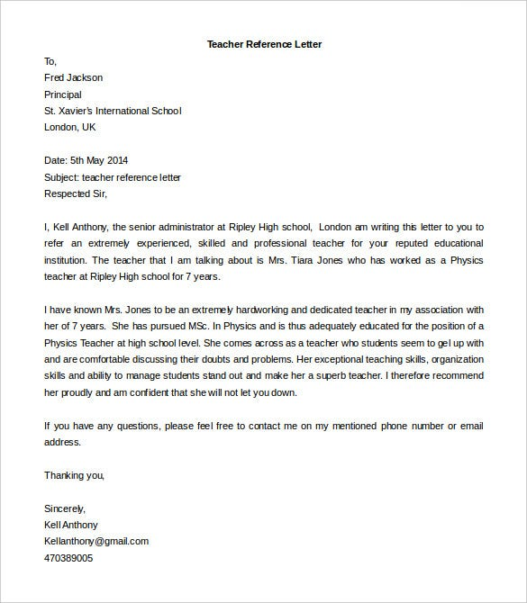 free editable teacher reference letter template