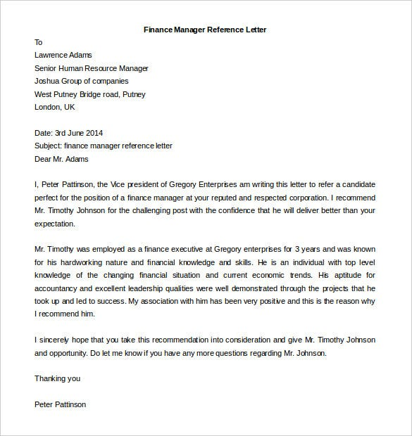 free download finance manager reference letter template