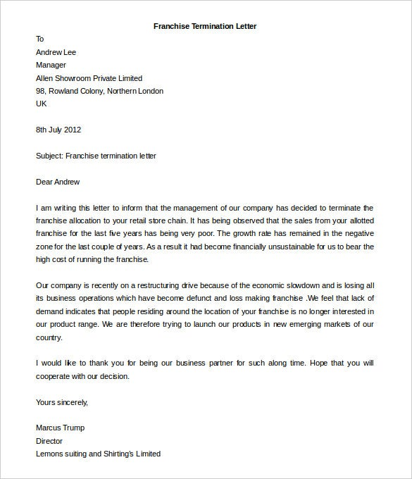 Free Termination Letter Template   Free Word Documents