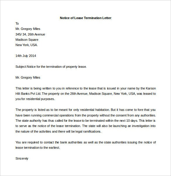 notice of lease termination letter template word doc - Notice Of Lease Termination
