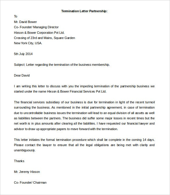 termination letter partnership free word format download