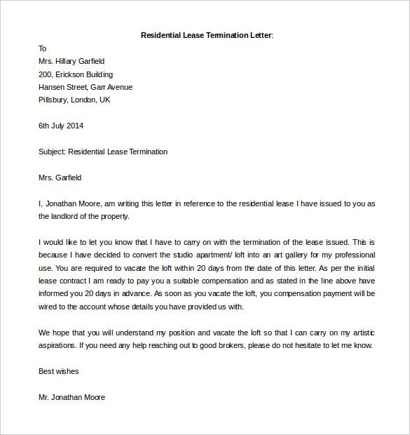 the editable residential lease termination letter template is a simple and useful termination letter template that perfectly states all the different reason - Sample Termination Letter Without Cause