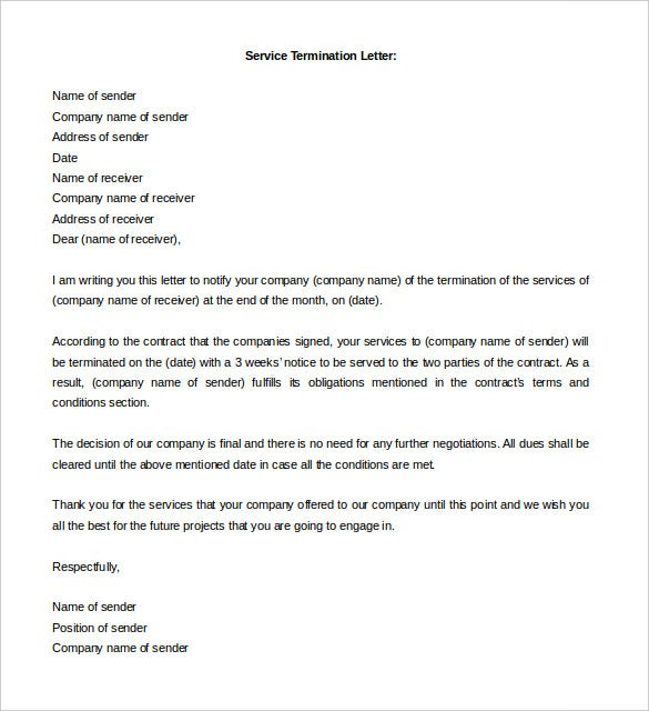 Free Termination Letter Template - 11+ Free Word Documents