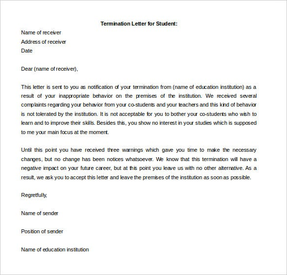 termination letter for student template free printable