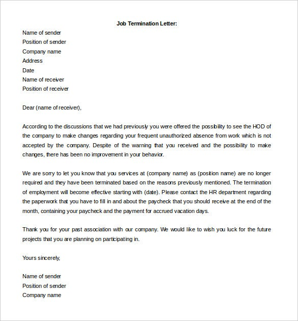 Free Termination Letter Template 15 Free Word Documents – Job Termination Letter