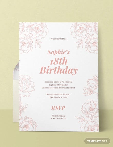 13 18th Birthday Invitation Designs Templates Psd Ai Free