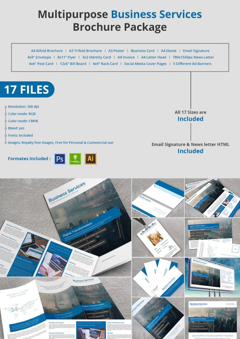 20 best free and premium corporate brochure templates for It services brochure template