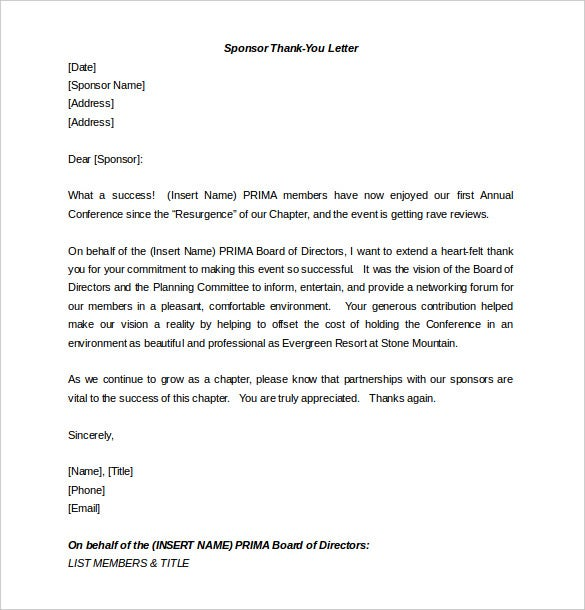 Sponsor Thank You Letter Template Letter Template  For