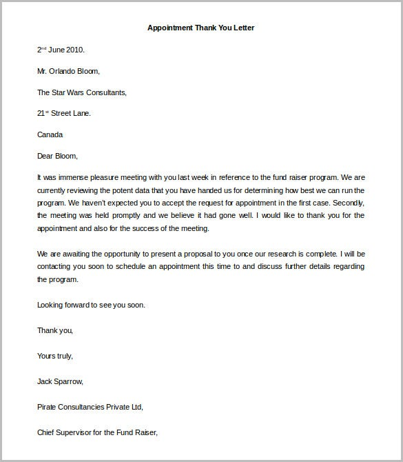 appointment thank you letter template word doc