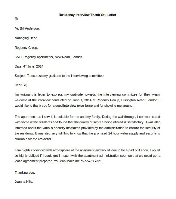 Free Residency Interview Thank You Letter Template