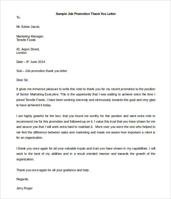 free job promotion thank you letter template promotion thank you letter 29042017