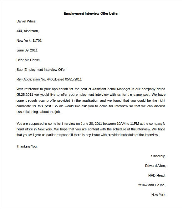 editable employment interview offer letter template