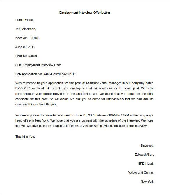 Job Application Letter Word Format