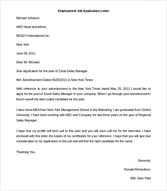 Free Employment Letter Template 24 Free Word PDF Documents – Job Letter Template