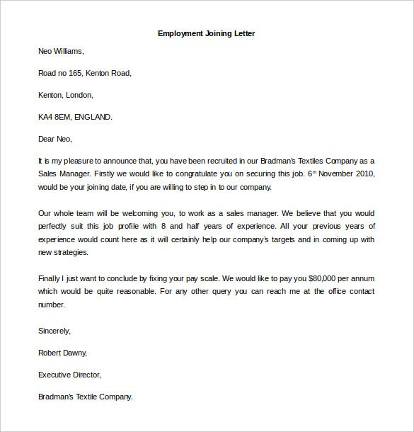 download employment joining letter template word format