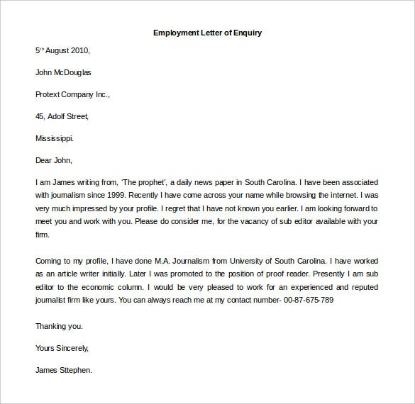 Free Employment Letter Template 24 Free Word PDF Documents – Enquiry Letter Format
