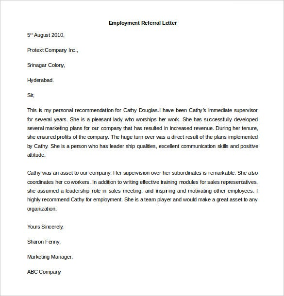 employment referral letter template download