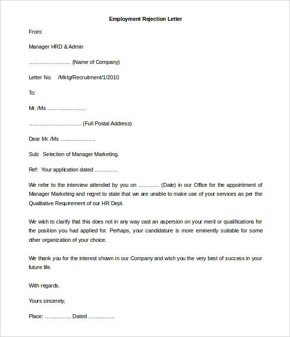 employment rejection letter template editable doc