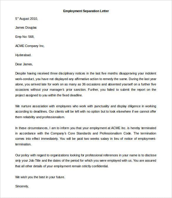 Sample Cover Letter For Severance Agreement Cover Letter Examples – Employment Separation Letter