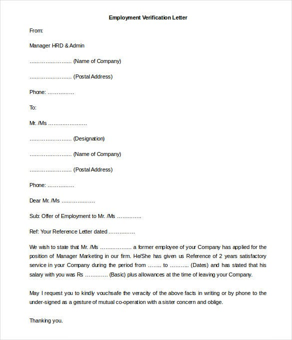 Free Employment Letter Template 24 Free Word PDF Documents – Example Employment Verification Letter