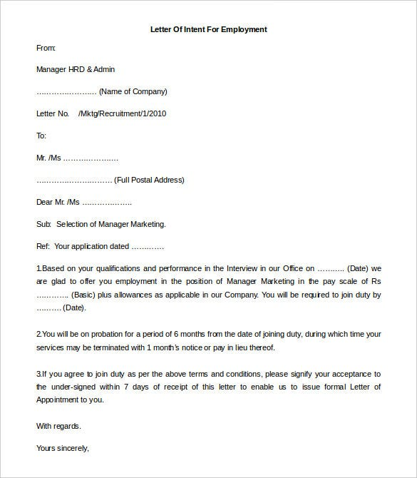 11 free employment letter template doc pdf free for Letter of intent to hire template
