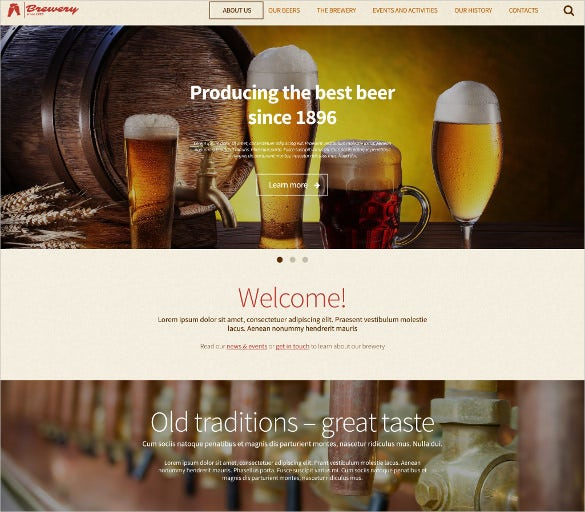 brewery wordpress yellow theme