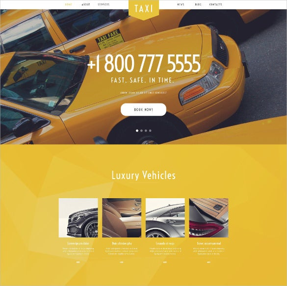 taxi services wordpress yellow template
