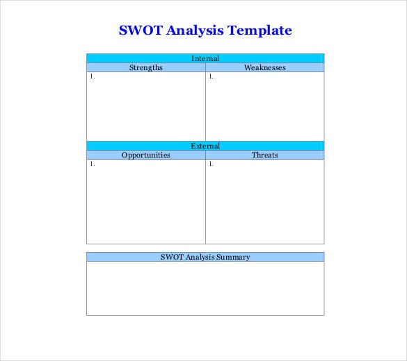 Blank Swot Analysis Templates  Free Sample Example Format