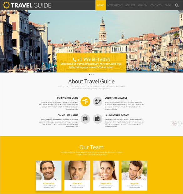 travel guide yellow wordpress theme