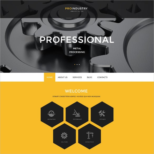 proindustry yellow wordpress template