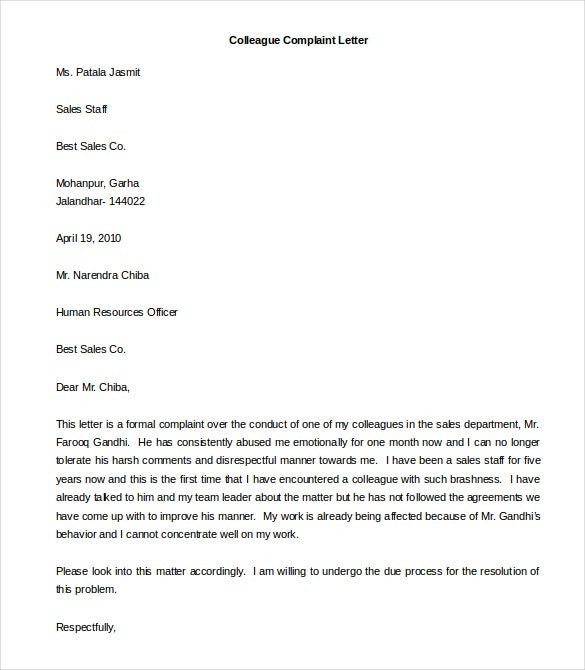 colleague complaint letter template word doc