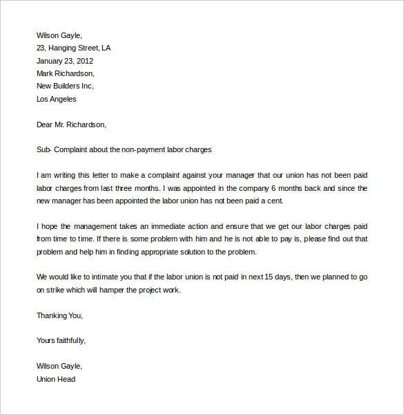 download labor complaint letter template in word