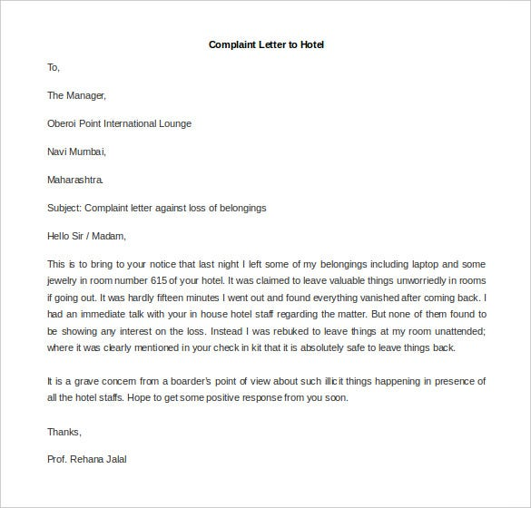 Free Complaint Letter Template – 20+ Free Word, Pdf Documents
