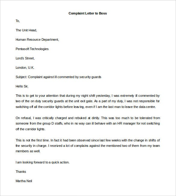 Free complaint letter template 32 free word pdf documents sampleletterz complaint letters on ill treatment by colleagues or lower grade employees should be immediately directed to the unit head or other hr expocarfo